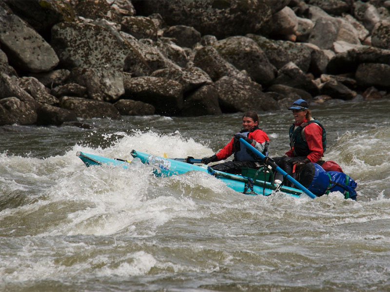 Abby and Gini navigate Bailey Rapids on the Main Salmon River. Photo by Jeff Bruce.