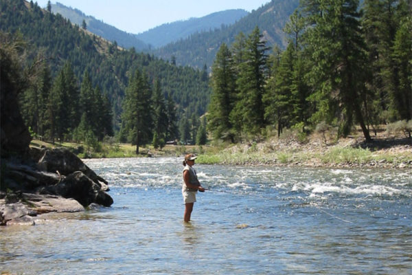 Fly fishing in the remote Idaho wilderness.