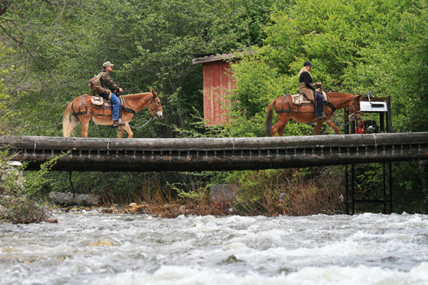 Riders on horseback cross Crooked Creek.
