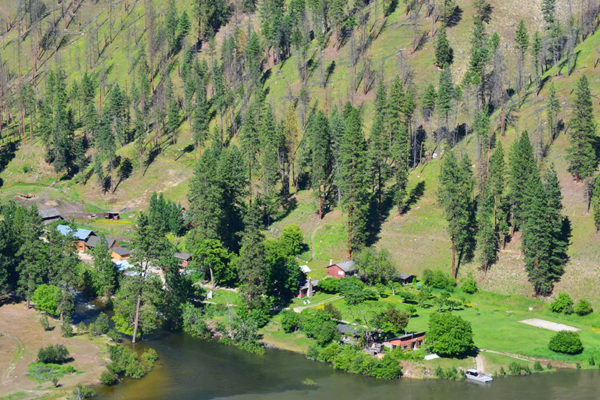 An aerial view of the Ranch on the banks of the Salmon River.
